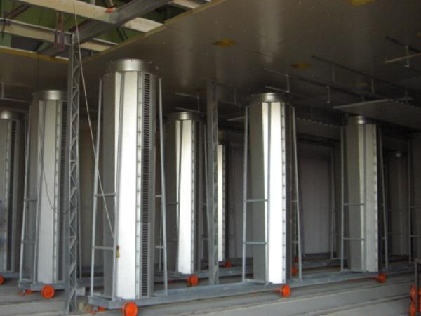 Moving ventilators on both side of material