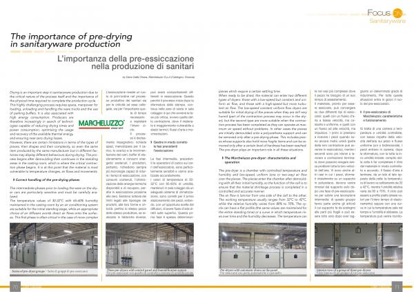 The importance of pre-drying in Sanitaryware production.